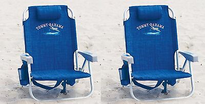 2 Tommy Bahama Backpack Cooler Beach Chairs Blue New !!! | NO SALES TAX