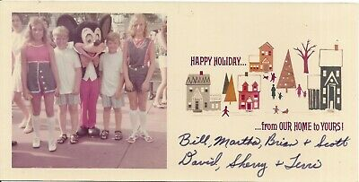 Disney Christmas Photo Cards (vtg color Christmas greeting photo card boy twin girls Disney world Mickey)