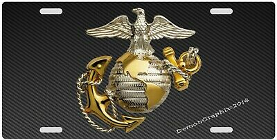 Carbon Fiber US Marines USMC License Plate, Novelty, Vanity, Custom (Custom Novelty License Plate)