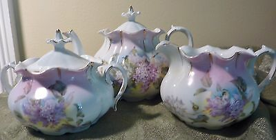 RS Prussia Tea Set OM 13 Teapot Pitcher Sugar Bowl 3 Pieces Lavender Lilacs Demi