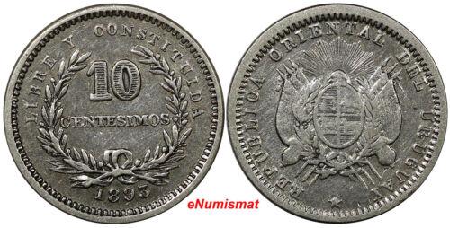 Uruguay Silver 1893 No m/m 10 Centesimos RARE KM# 14