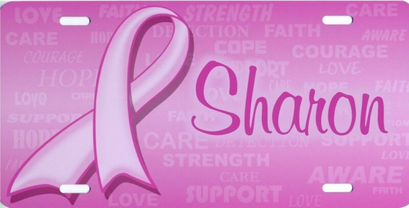 Personalized Custom Breast Cancer Awareness Pink Ribbon License Plate Auto Tag