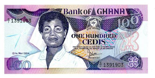 Ghana … P-26a … 100 Cedis … 1984 ... *UNC*   2 nd Date.