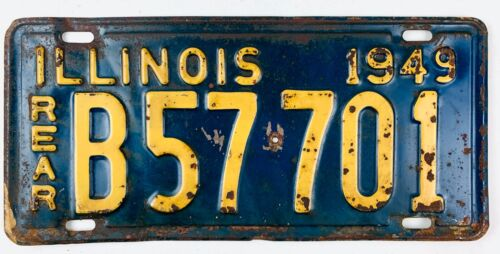 Illinois 1949 Vintage License Plate Truck Rear Tag Pickup Man Cave Gift Garage