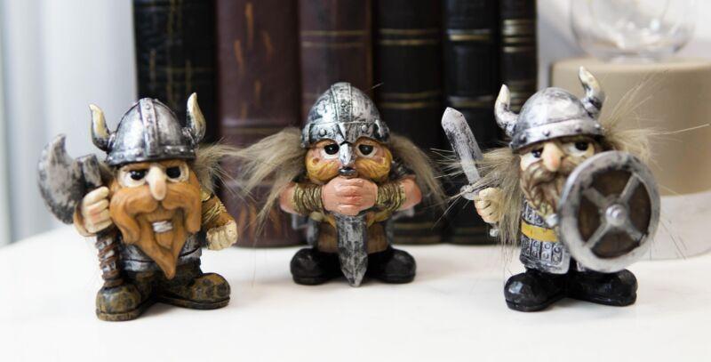 "Viking Warrior Miniature Resin Figurine Tabletop Set of 3 Pcs 3.75"" H"