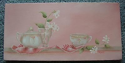 ROSES TEA CUP SUGAR BERRIES WHITE GARDEN DAISIES GLASS PINK STILL LIFE PAINTING