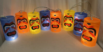 "Vintage 6"" TIKI Face Blow Mold Plastic String Lights Camping RV Patio Luau Party"