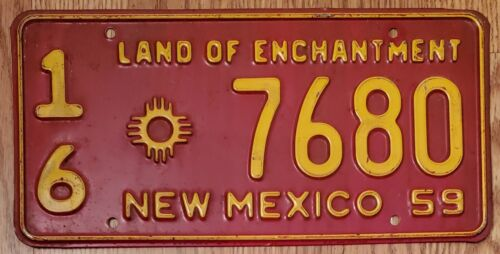1959 NEW MEXICO NM LICENSE PLATE, TAG# '7680', SAN JUAN County