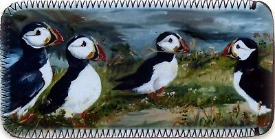 PUFFIN BIRDS NEW OIL PAINTING PRINT GLASSES CASE POUCH  SANDRA COEN ARTIST