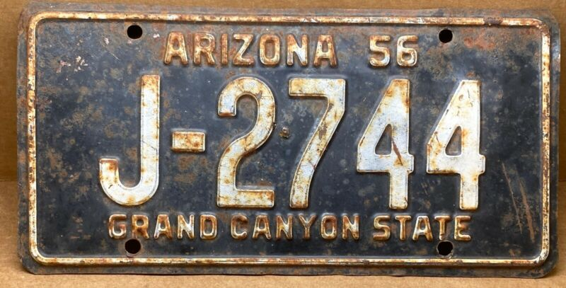 RARE 1956 ( J- 2744 )ARIZONA MAROON CACTUS LICENSE PLATE