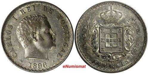 Portugal Carlos I Silver 1896 500 Reis 30mm KM# 535