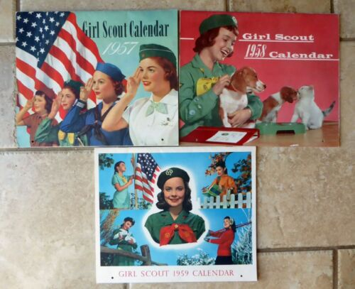 LOT OF 3 VINTAGE GIRL SCOUT CALENDARS WITH PICTURES 1950