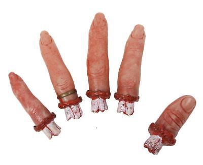 5pc Severed Finger Food Halloween Fancy Dress Dip Prop Gory Accessories