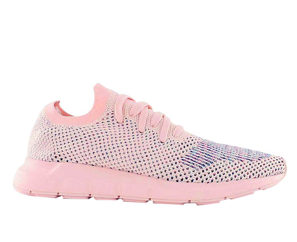 214bfd130fb28 Adidas Originals Swift Run Primeknit Womens Lace Up Trainers Pink ...