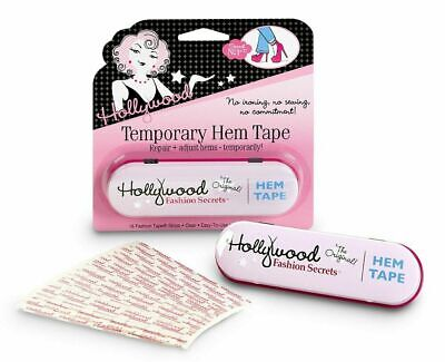Hollywood Fashion Temporary Hem Tape Fabric Friendly Adhesive Tape 18 Strips NEW
