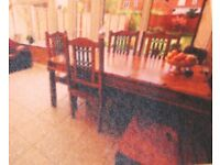 Solid sheesham wood table and 6 chairs