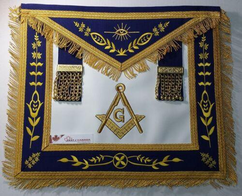 Masonic Master Mason Apron Navy Blue Gold Compass & Square G & Fringe