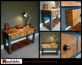 Hand made Vintage Style Solid Wood Console unit