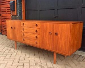 REFINISHED Danish Mid Century Modern Teak Sideboard Buffet TV Media Console or Credenza
