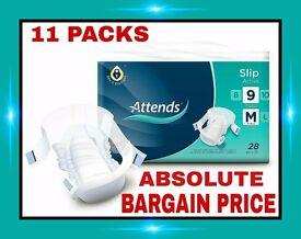 11 Packs Of Attends Medium Active Slips. Brand New Sealed. Bargain Price. £££££