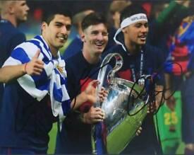 Tres amigos hand signed 10x8 photo Neymar, Messi, Suarez with Coa