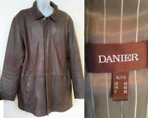 XL 48 DANIER Leather Jacket Car Coat Dark Brown Canada Thick Soft Sheeps Hide Durable Zip Distressed