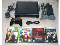 Xbox 360 Elite with 120gb hard drive, wireless controller and 4 games!