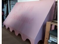 Pink Metal Shop Exterior Canopy Sign