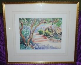 'Park, Tree & Bench' Print In 75x63cm Wood & Glass Frame (unboxed)