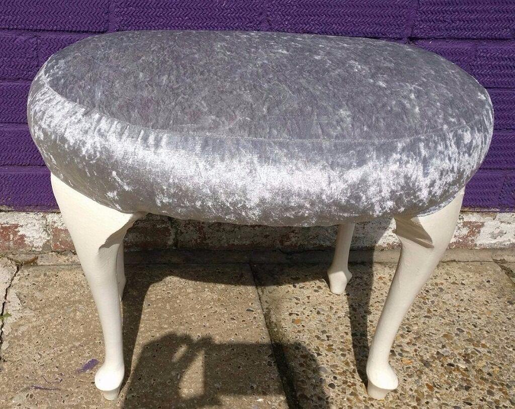 Silver Crushed Velvet Kidney Shaped Dressing Table Stool