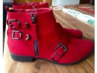M & S Red Suede Ankle Boots 6.5