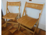 2 Folding Beech Chairs, Kitchen, Patio, Camping - £25 the pair