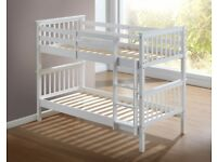 🚚🚛SAME DAY CASH ON DELIVERY🚚🚛New Pine or White Solid Wooden Bunk Bed / Bunkbed with Mattresses
