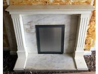 For sale used white fire surround and marble effect hearth
