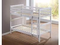**SUPERB FINISH** Wow New White and Pine Atlantis Wooden Bunk Bed 3ft Single-With/Without Mattresses