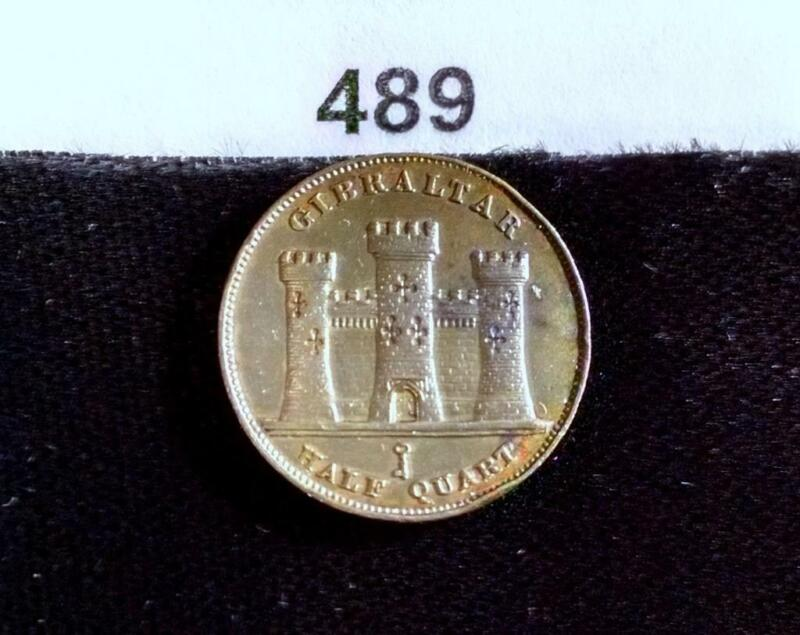 1842 GIBRALTAR 1/2 QUART w/COLOR AND AMAZING DETAILS! KM#1 COIN #489