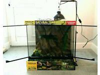 LIKE NEW TERRARIUM WITH LIGHT STAND, DOME, UVB BULB, DIGITAL TEMPERATURE GAUGE AND PLANTS