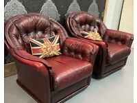 Stunning Vintage Chesterfield Pair of Oxblood Leather Chairs - Uk Delivery