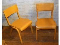 16 available Tecta school stacking vintage chairs antique industrial restaurant retro seating wooden