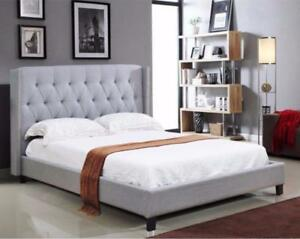 GREY PLATFORM BED WITH TUFFTED HEADBOARD ON SALE CALL -905-451-8999 (IF116)