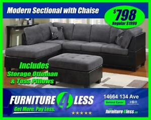 BRAND NEW SECTIONAL AND STORAGE OTTOMAN- GET IT TODAY FOR ONLY $798