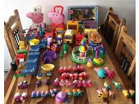 Bundle of peppa pig toys and collections bath boat funfair train figures