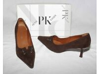 Peter Kaiser Ladies mid-brown suede pointed toe court shoes. Boxed, unworn. UK size 6.5.