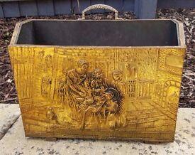 Home Decor - Antique Vintage Brass Wooden Magazine Rack