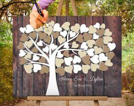 Wedding tree, guest book, fingerprint /sign album, canvas print