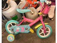 Peppa Pig Childs first bike with stabilisers