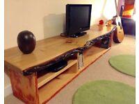 T.V / Media unit. Solid Oak top. Natural edge. Antique pine base.