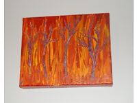 """Original Acrylic abstract 'Flaming Trees', by local artist, Box Canvas, 10x8 inches. 1.5"""" depth"""