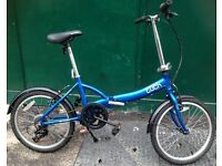 Apollo Tuck Twenty 20 Inch Commuter Blue fold up bicycle, Aluminium folding bike.