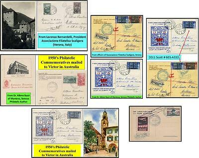 5 ITALY Philately Commemorative Postcards to Victor in Australia during 1950's.